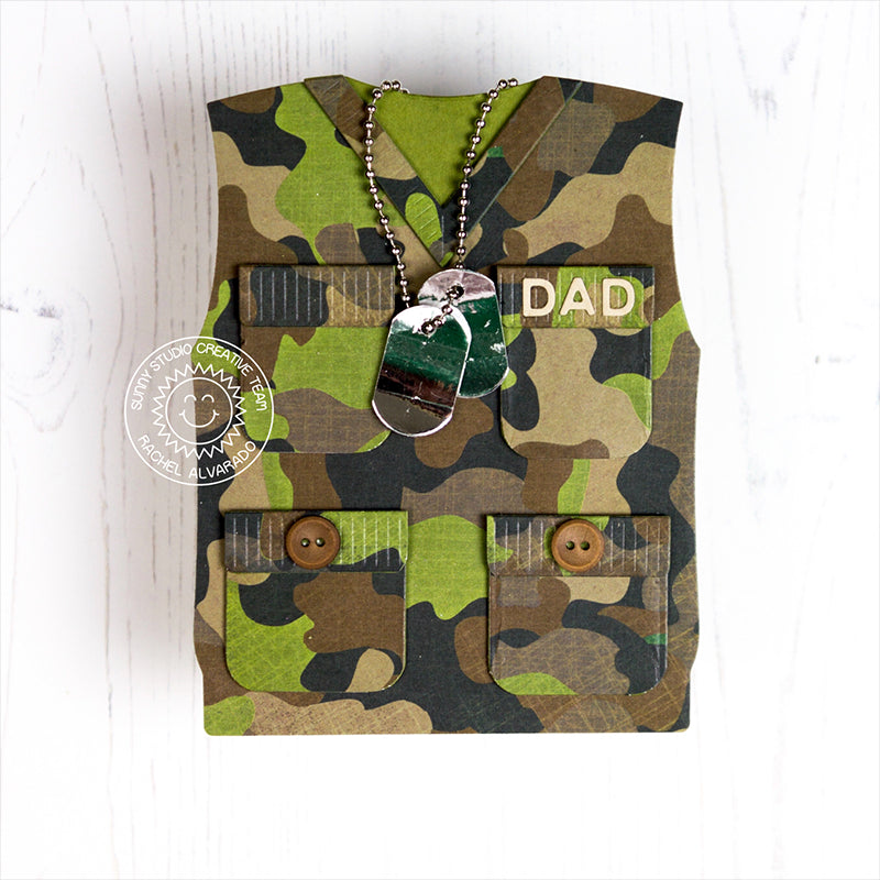 Sunny Studio Stamps Army Military Themed Camouflage Vest Father's Day Card with dog tags  by Rachel
