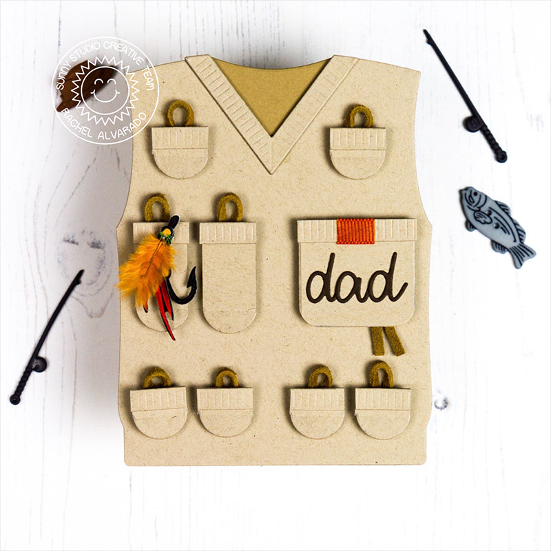 Sunny Studio Stamps Fishing Vest for Dad Father's Day Card by Rachel (using Sweater Vest Dies)