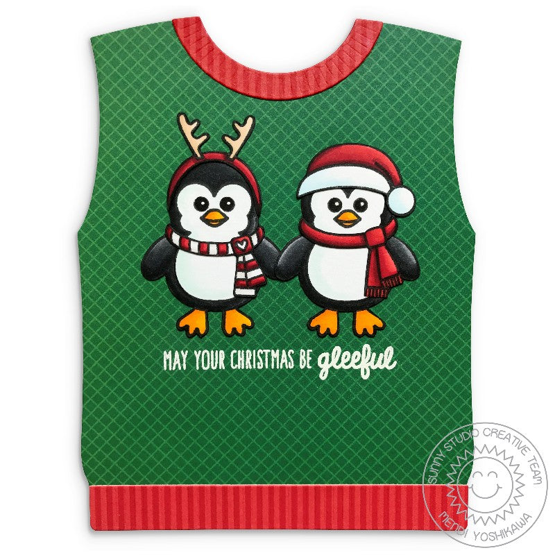 Sunny Studio Stamps Ugly Christmas Sweater Vest Shaped Card (using Bundled Up Penguin Stamps)