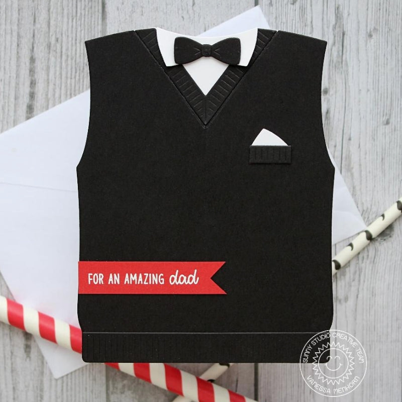 Sunny Studio Stamps Black Tie & Sweater Vest Father's Day Shaped Card