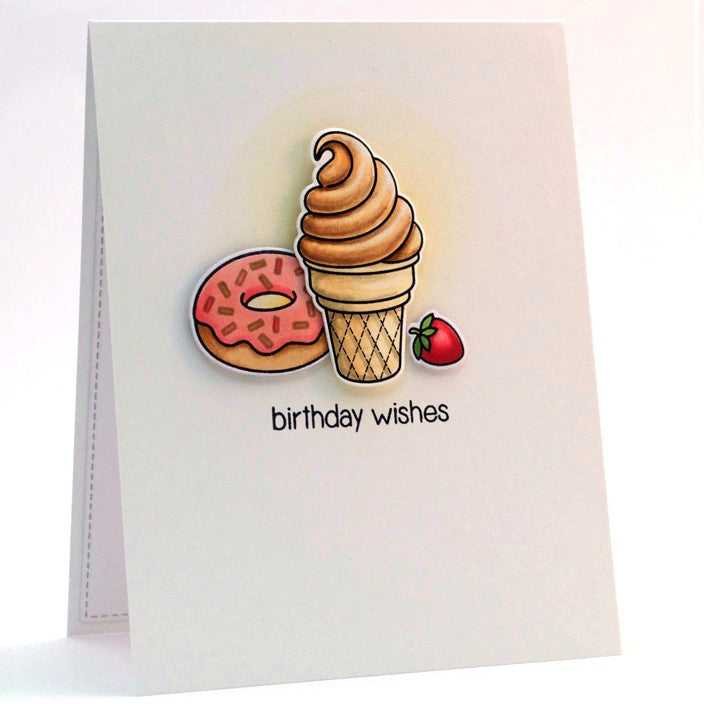 Sunny Studio Stamps Ice Cream Cone, Donut & Strawberry Birthday Wishes Handmade Card (using Sweet Shoppe 4x6 Clear Photopolymer Stamp Set)
