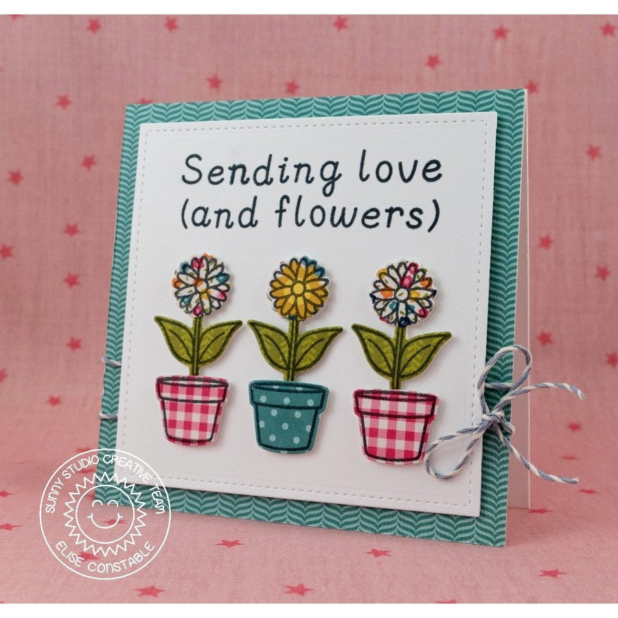 Sunny Studio Stamps Daisy Card with Custom sentiment using Sweet Script Alphabet stamps