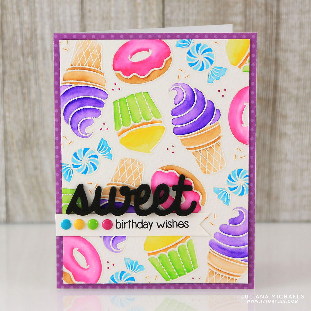 Sunny Studio Sweet Word Die Rainbow Watercolor Treat Birthday Card
