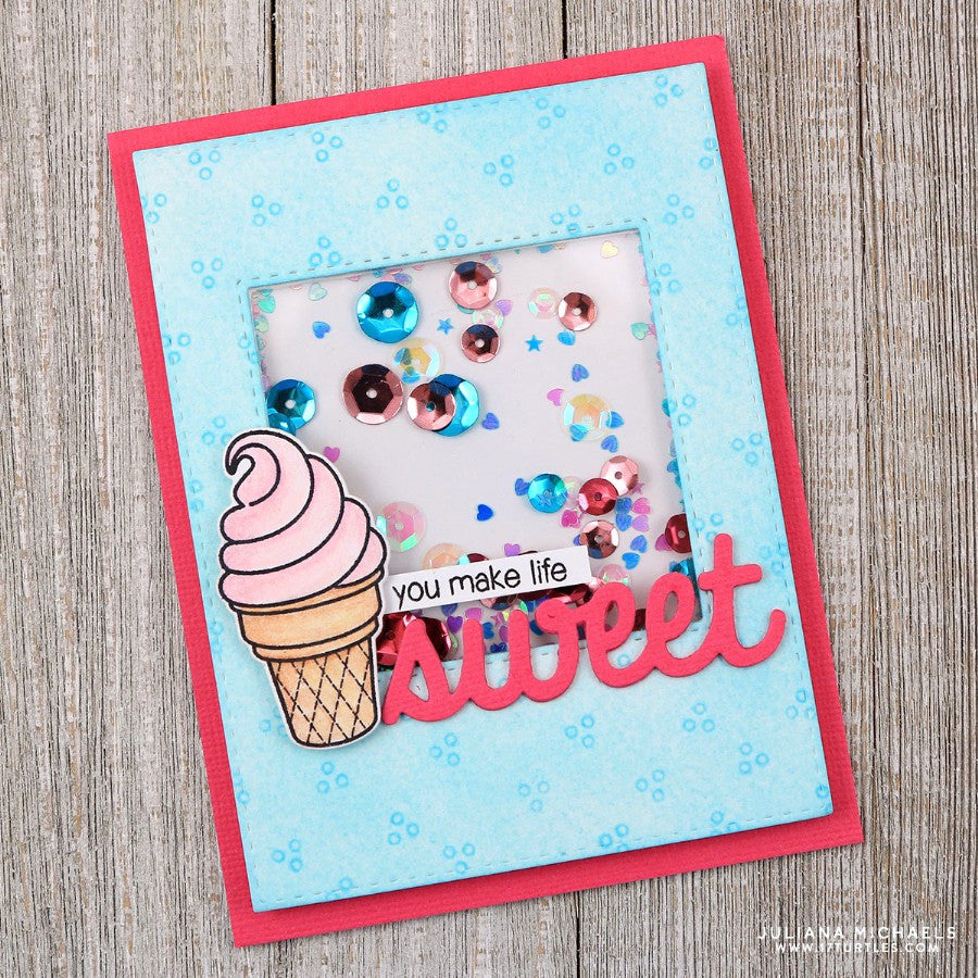 Sunny Studio You Make Life Sweet Word Die Ice Cream Shaker Card