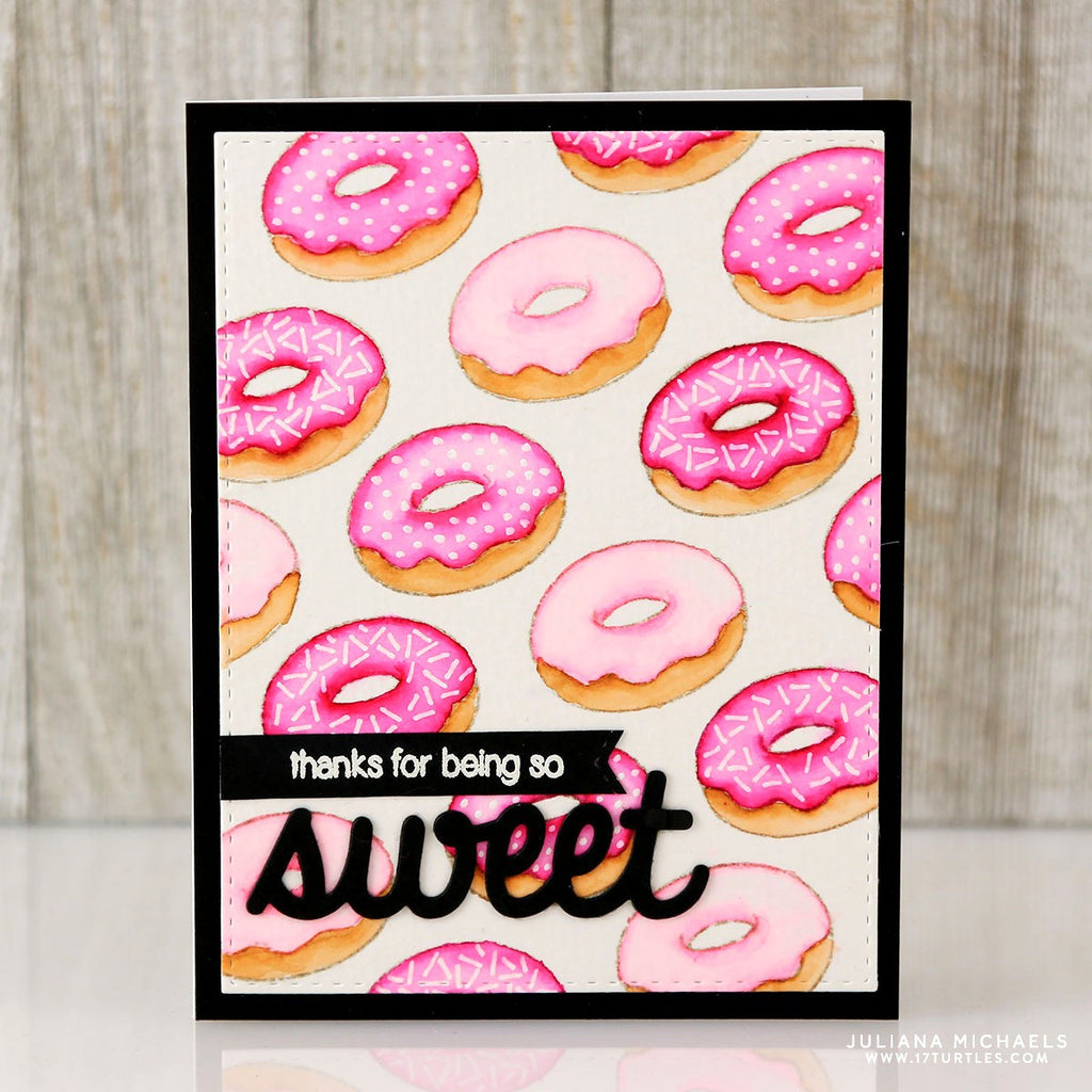 Sunny Studio Stamps Thanks For Being So Sweet Pink Donuts with Sprinkles Handmade Card (using Sweet Shoppe 4x6 Clear Photopolymer Stamp Set)