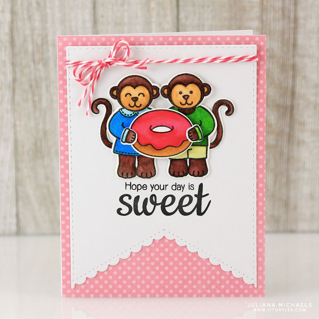 Sunny Studio Stamps Monkey With Donut Hope Your Day Is Sweet Handmade Card (using Sweet Shoppe 4x6 Clear Photopolymer Stamp Set)