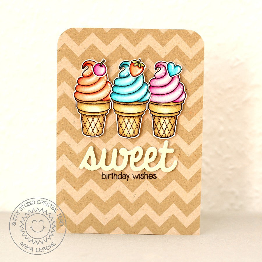 Sunny Studio Stamps Sweet Birthday Wishes Ice Cream Cone Handmade Card with Kraft Chevron Background (using Sweet Shoppe 4x6 Clear Photopolymer Stamp Set)