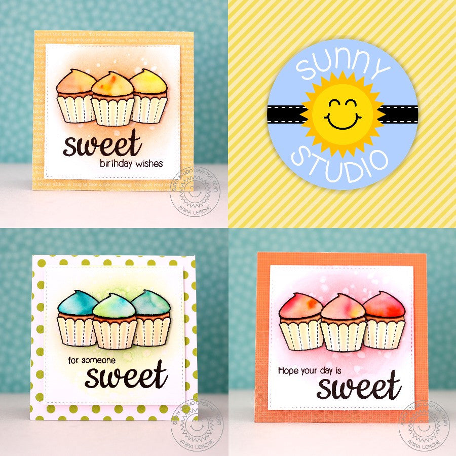 Sunny Studio Stamps For Someone Sweet Square Cupcake Handmade Birthday Card (using Sweet Shoppe 4x6 Clear Photopolymer Stamp Set)