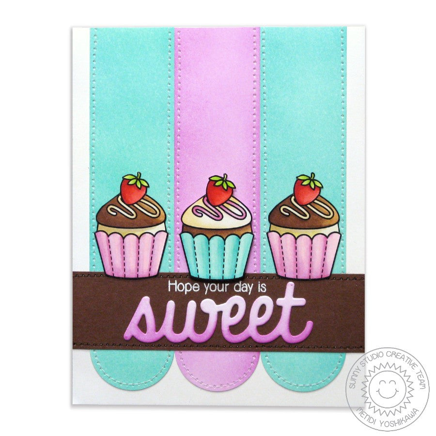 Sunny Studio Stamps Sweet Shoppe Cupcake Trio Card