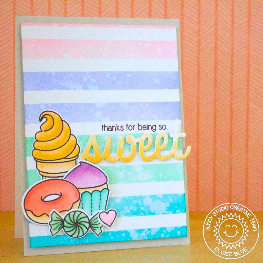 Sunny Studio Stamps Thanks For Being So Sweet Rainbow Striped Stripes Ice Cream, Cupcake, Donut & Candy Handmade Card (using Sweet Shoppe 4x6 Clear Photopolymer Stamp Set)