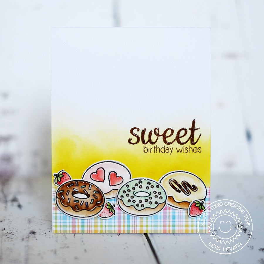 Sunny Studio Stamps Sweet Birthday Wishes Plaid Donut Handmade Card (using Sweet Shoppe 4x6 Clear Photopolymer Stamp Set)