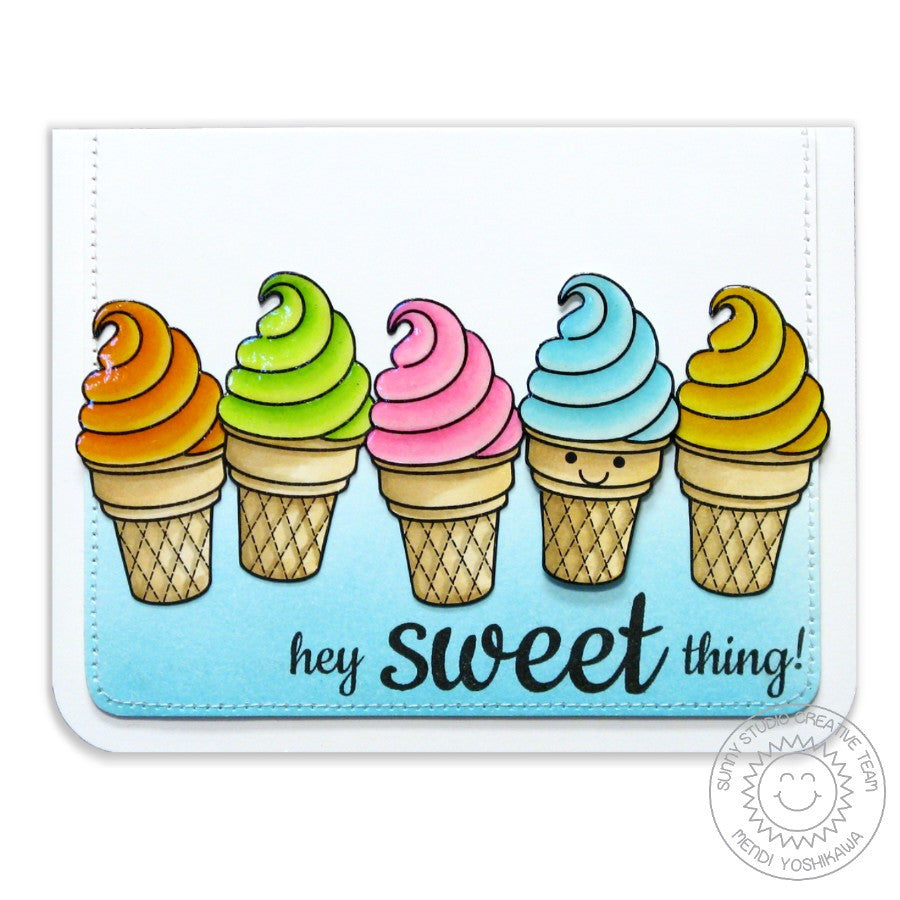 Sunny Studio Stamps Sweet Shoppe Hey Sweet Thing Rainbow Ice Cream Cone Card