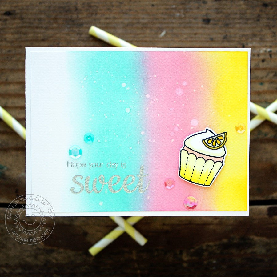 Sunny Studio Stamps Hope Your Day Is Sweet Rainbow Cupcake Handmade Card (using Sweet Shoppe 4x6 Clear Photopolymer Stamp Set)