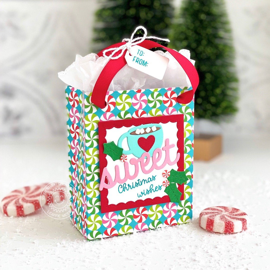 Sunny Studio Stamps Hot Chocolate and Peppermint Christmas Holiday Gift Bag (using Sweet Treats Bag Dies)