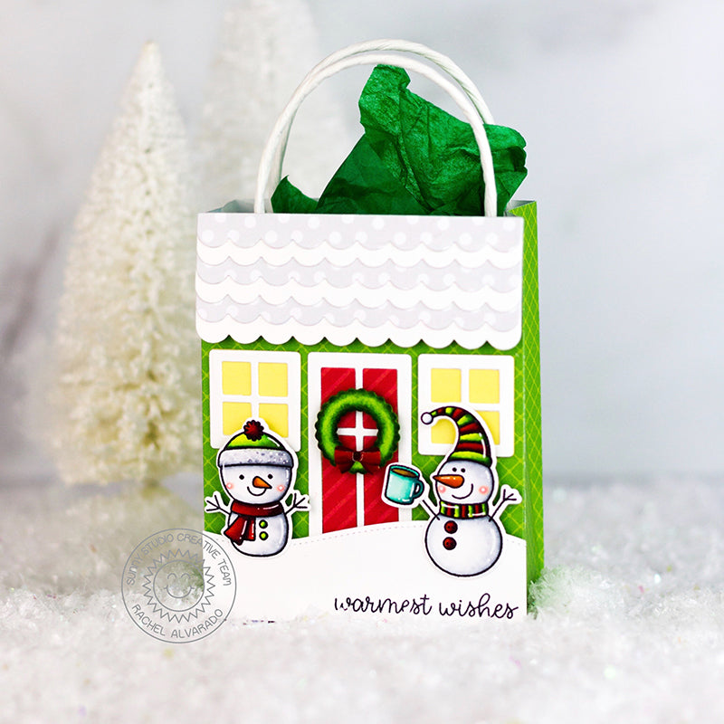 Sunny Studio Stamps Snowman Holiday House Christmas Gift Bag by Rachel (using Sweet Treats Bag die)