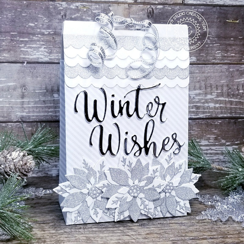 Sunny Studio Stamps: Winter Wishes Silver and White Glitter Poinsettia Christmas Holiday Gift Bag (using Sweet Treats Bag Die)