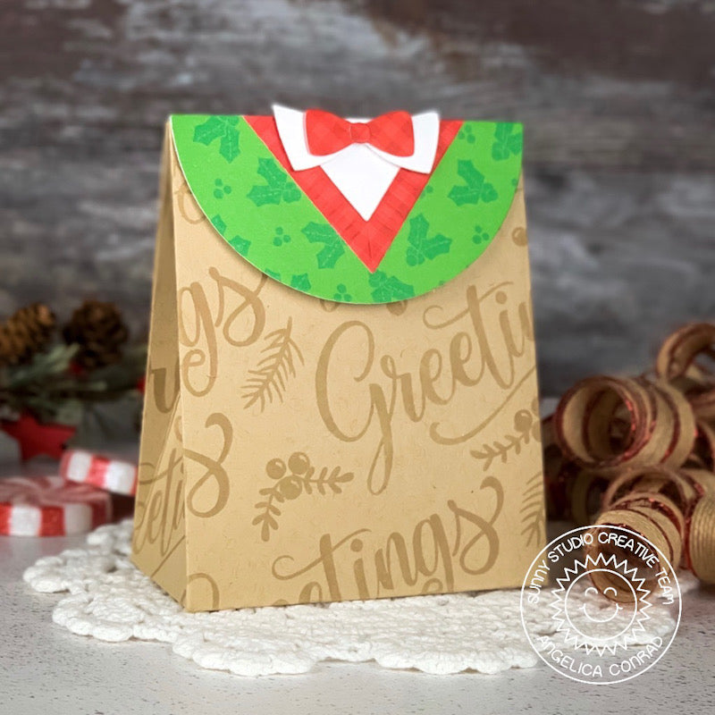 Sunny Studio Stamps Christmas Holiday Sweet Treats Gift Bag with Sweater Vest Flap by Angelica Conrad
