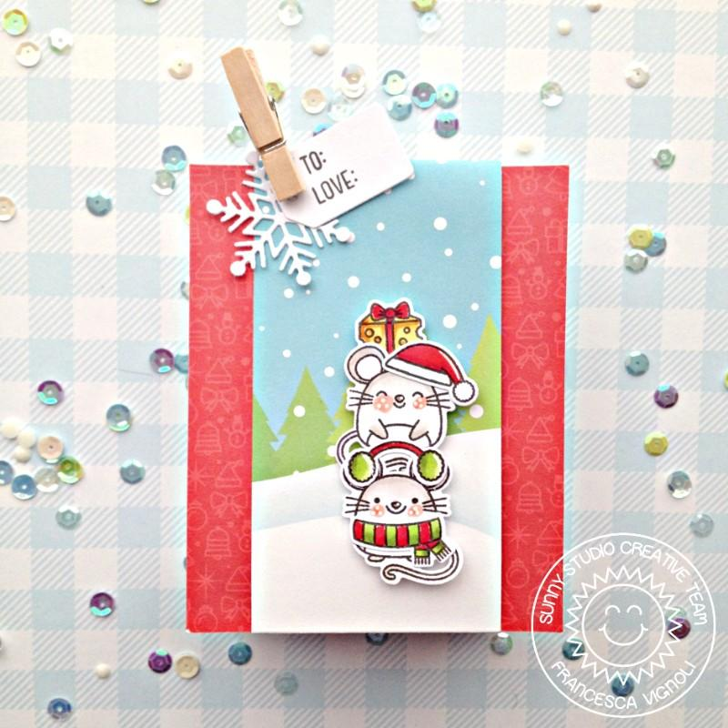 Sunny Studio Stamps Merry Mice Mouse Holiday Gift Bag (using Sweet Treats Bag die)