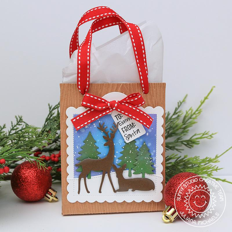 Sunny Studio Stamps Deer with Snowy Woods Christmas Holiday Gift Bag by Juliana Michaels (using stitched Scalloped Square Tag Dies)