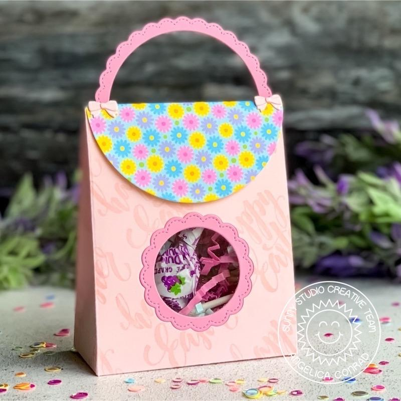 Sunny Studio Sweet Treats Happy Easter Girls' Purse Style Gift Bag with Scalloped Window Cutout using cutting dies
