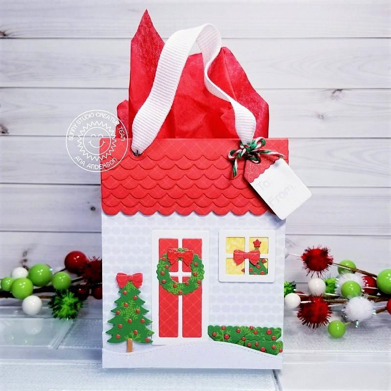 Sunny Studio Stamps Home for the Holidays Christmas House Gift Bag (using Sweet Treats Bag die)