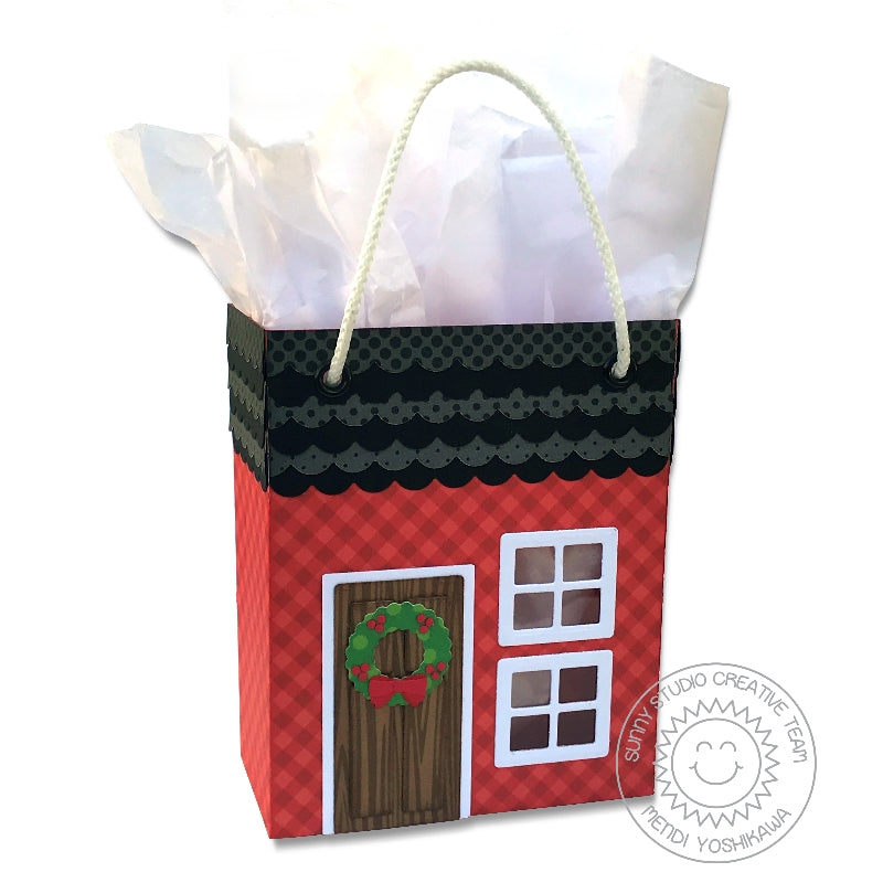 Sunny Studio Stamps Holiday Christmas House Sweet Treats Twine Handled Handmade Gift Bag (using House Add-on Metal Cutting Dies)