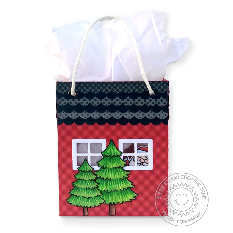 Sunny Studio Stamps Santa Peeking in House Windows Sweet Treats Twine Handled Handmade Gift Bag (using House Add-on Metal Cutting Dies)