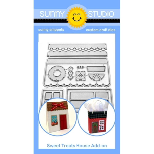 Sunny Studio Stamps Sweet Treats House Add-on Metal Cutting Dies for both Everyday & Christmas Holiday Home