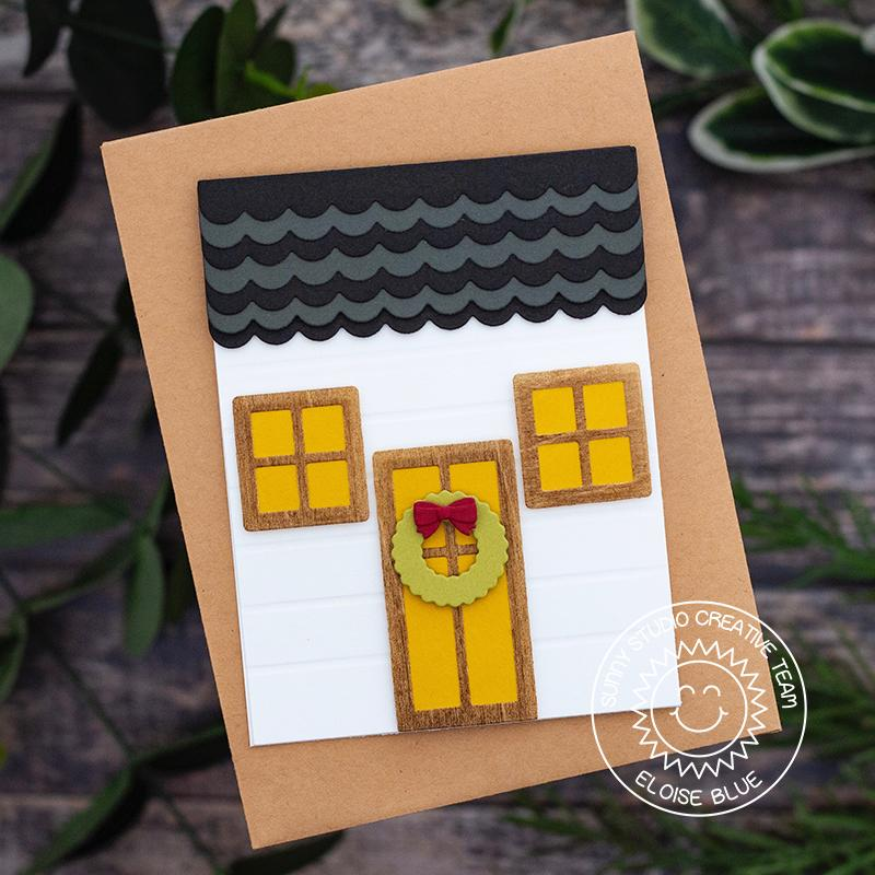 Sunny Studio Stamps Holiday Christmas House Handmade Card (using Sweet Treats House Add-on die)