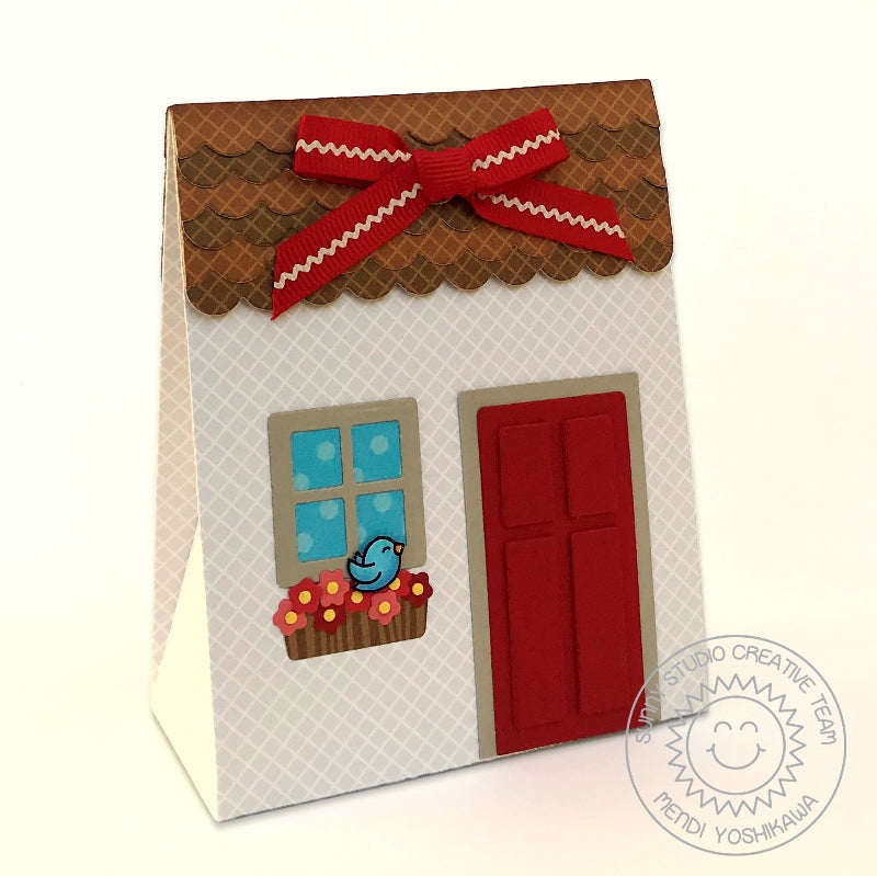 Sunny Studio Stamps Sweet Treats House Gift Bag Box with magnetic flap (using Gray Diagonal Grid Print from Subtle Grey Tones 6x6 Patterned Paper Pack)