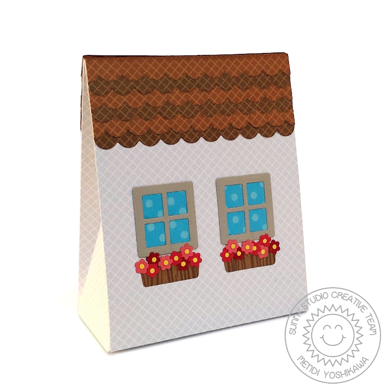 Sunny Studio Stamps Sweet Treats Everyday House Themed Gift Bag with Flower Boxes (using Metal Cutting Dies)
