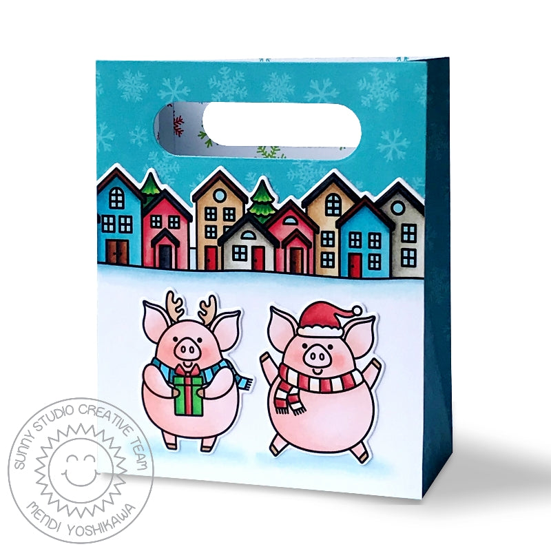 Sunny Studio Stamps Pig Christmas Holiday Gift Bag (using Hogs & Kisses Stamps and Sweet Treats Bag Die)