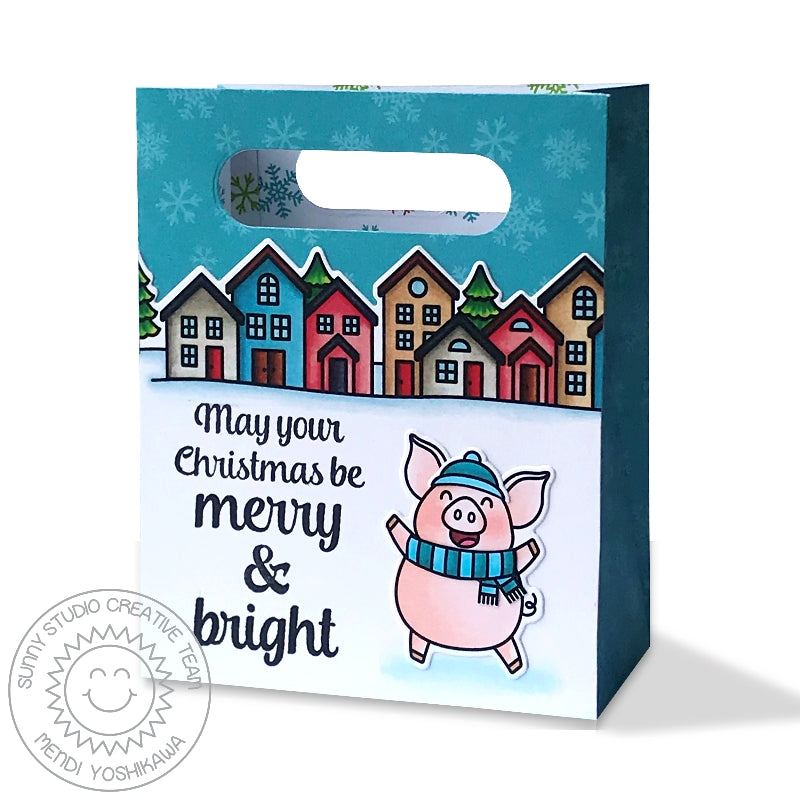 Sunny Studio Stamps May Your Christmas Be Merry & Bright Pig with Holiday Houses Gift Bag (using Sweet Treats die)
