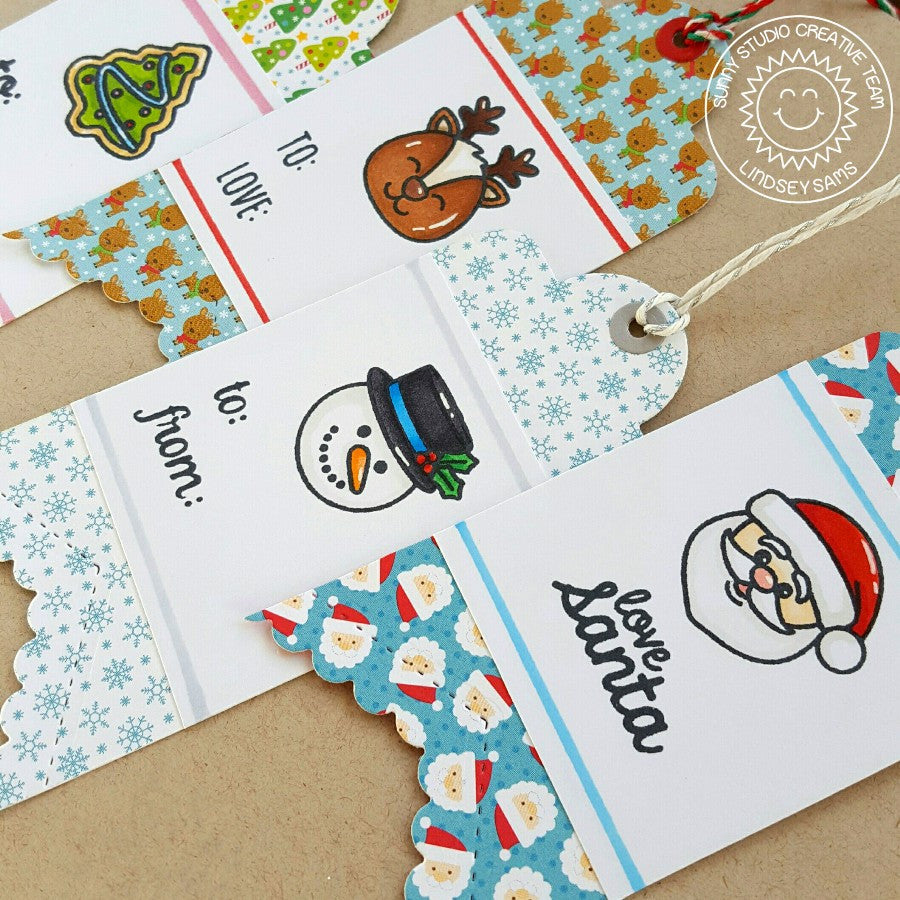 Sunny Studio Stamps Christmas Holiday Snowman, Santa & Reindeer Handmade Gift Tags  (using Fishtail Banner II Metal Cutting Dies)