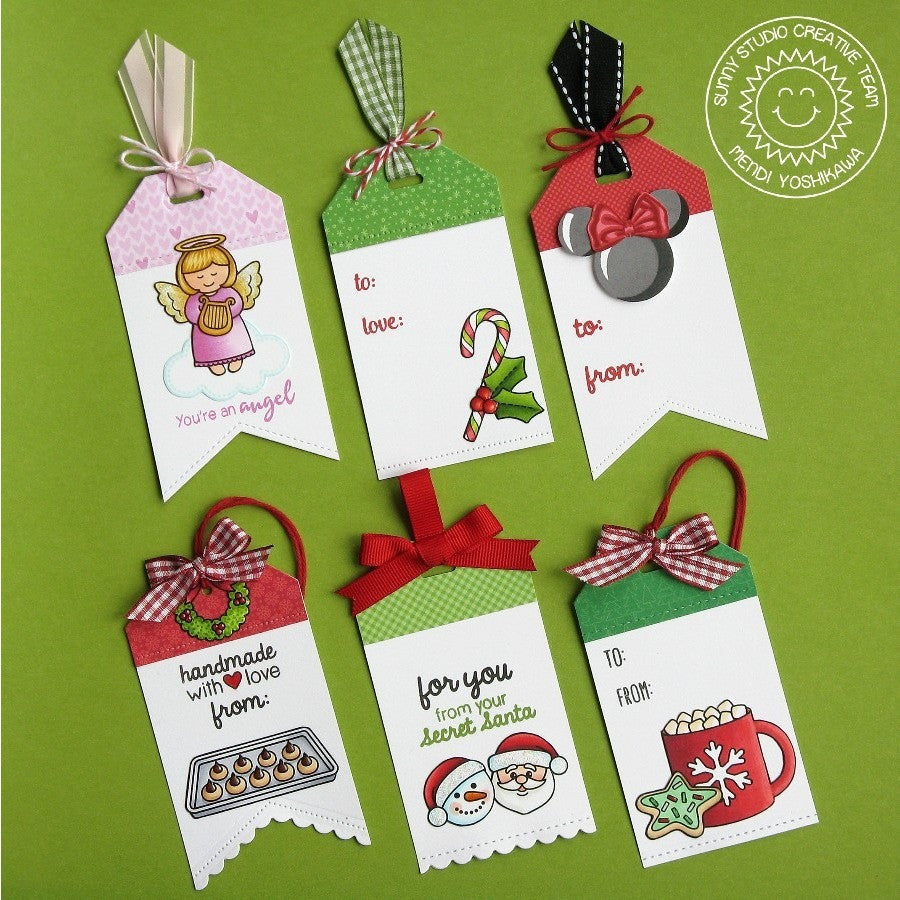 Sunny Studio Stamps Handmade Christmas Holiday Gift Tags (using Fishtail Banner II Metal Cutting Dies)