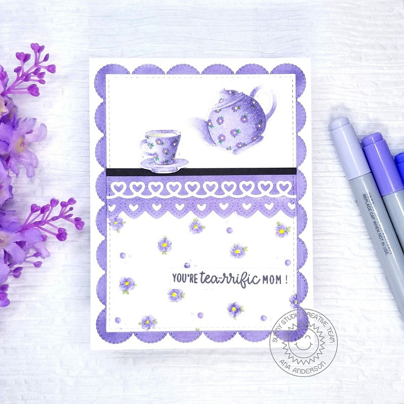 Sunny Studio Stamps Lavender Flower Floral Teapot & Teacup Handmade Mother's Day Card by Ana Anderson (using Tea-riffic 2x3 Clear Photopolymer Stamp Set)