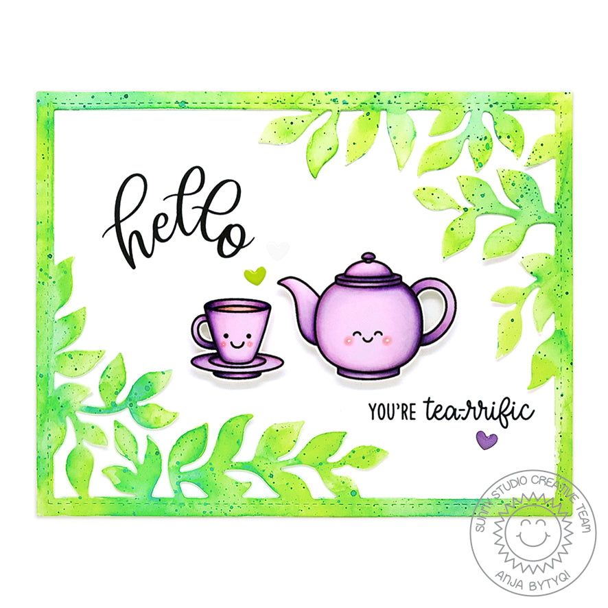 Sunny Studio Stamps Lavender & Green Leaves Border Teapot & Teacup Tea Themed Handmade Card (using Tea-riffic Mini 2x3 Clear Photopolymer Stamp Set)