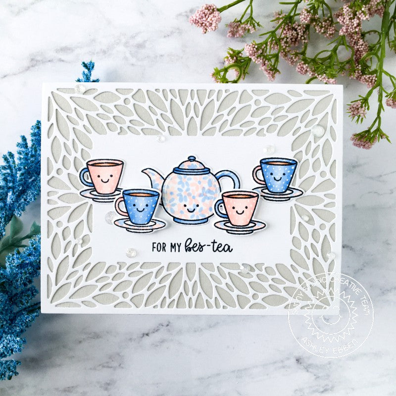 Sunny Studio Stamps Teapot & Teacups Punny Handmade Card with petal border (using Blooming Frame Metal Cutting Dies)
