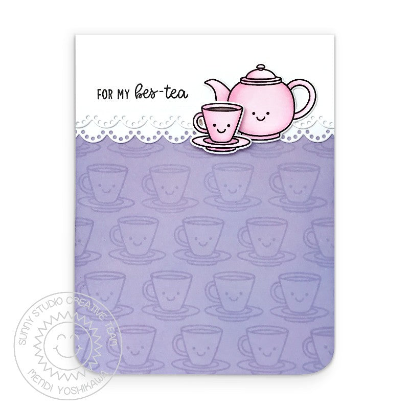 Sunny Studio For My Bes-tea Friendship Pink & Lavender Teapot & Teacup Handmade Card (using Tea-riffic Punny Puns 2x3 Clear Photopolymer Stamp Set)