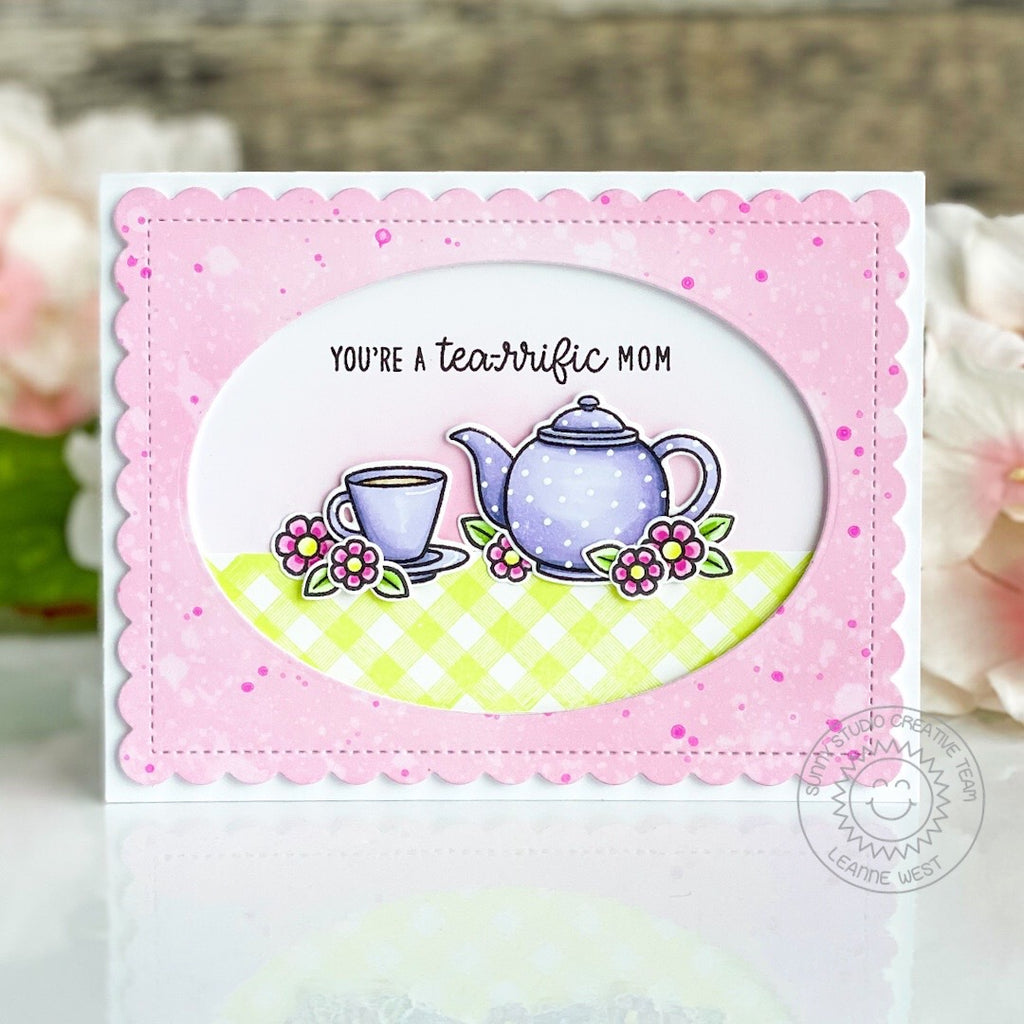 Sunny Studio Stamps Teapot & Teacup Handmade Mother's Day Card with Oval Window (using Stitched Oval Metal Cutting Dies)