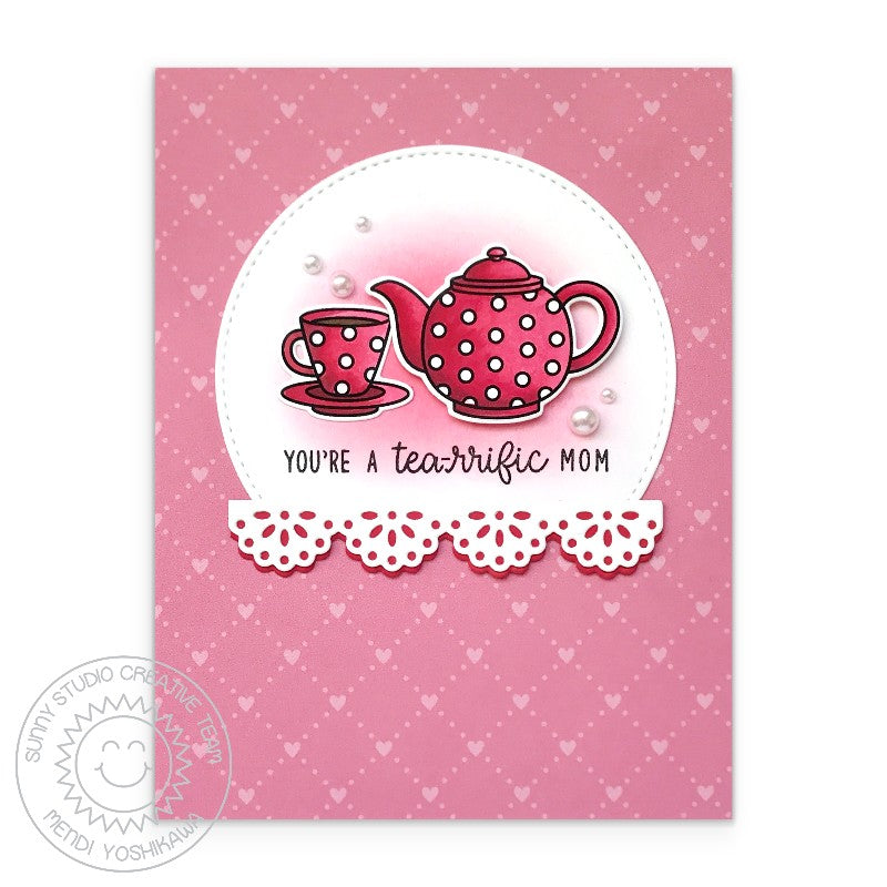 Sunny Studio You're A Tea-riffic Mom Red Polka-dot Teapot & Teacup Mother's Day Handmade Card (using Stitched Semi-Circles Metal Cutting Dies)