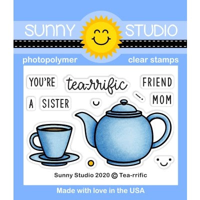 Sunny Studio Stamps Tea-riffic Teapot & Teacup 2x3 Punny Puns Clear Photopolymer Stamp Set