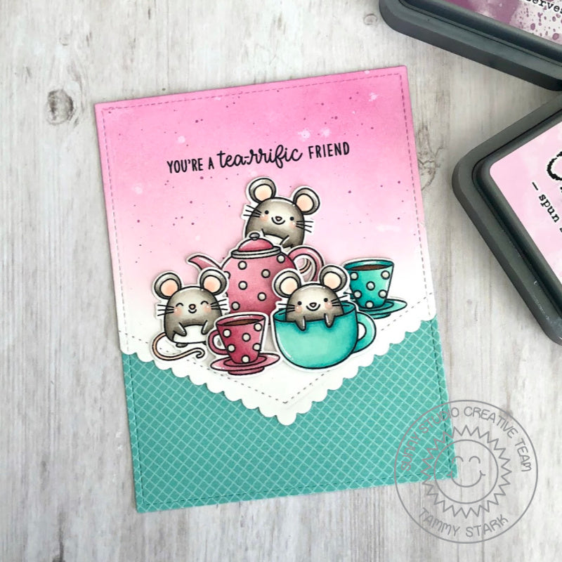 Sunny Studio Stamps Mouse with Teapot & Teacups Handmade Card (using Tea-riffic 2x3 Clear Photopolymer Stamp Set)