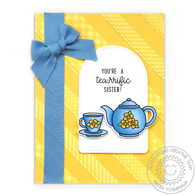 Sunny Studio Stamps You're A Tea-riffic Sister Teapot & Teacup Yellow & Blue Tea Handmade Card with Bow (using Stitched Arch Metal Cutting Dies)