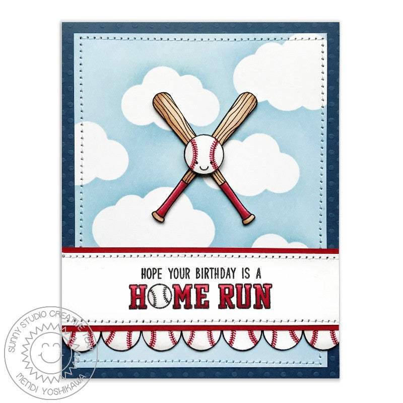Sunny Studio Stamps Team Player Home Run Baseball Birthday Card by Mendi Yoshikawa