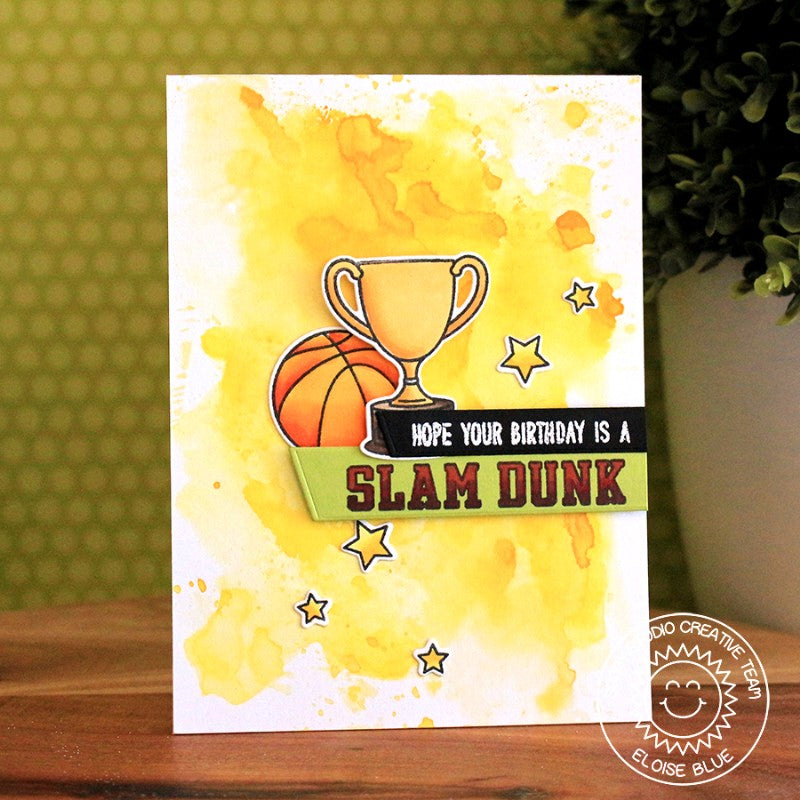 Sunny Studio Stamps Team Player Slam Dunk Basketball Trophy Birthday Card with Watercolor Background