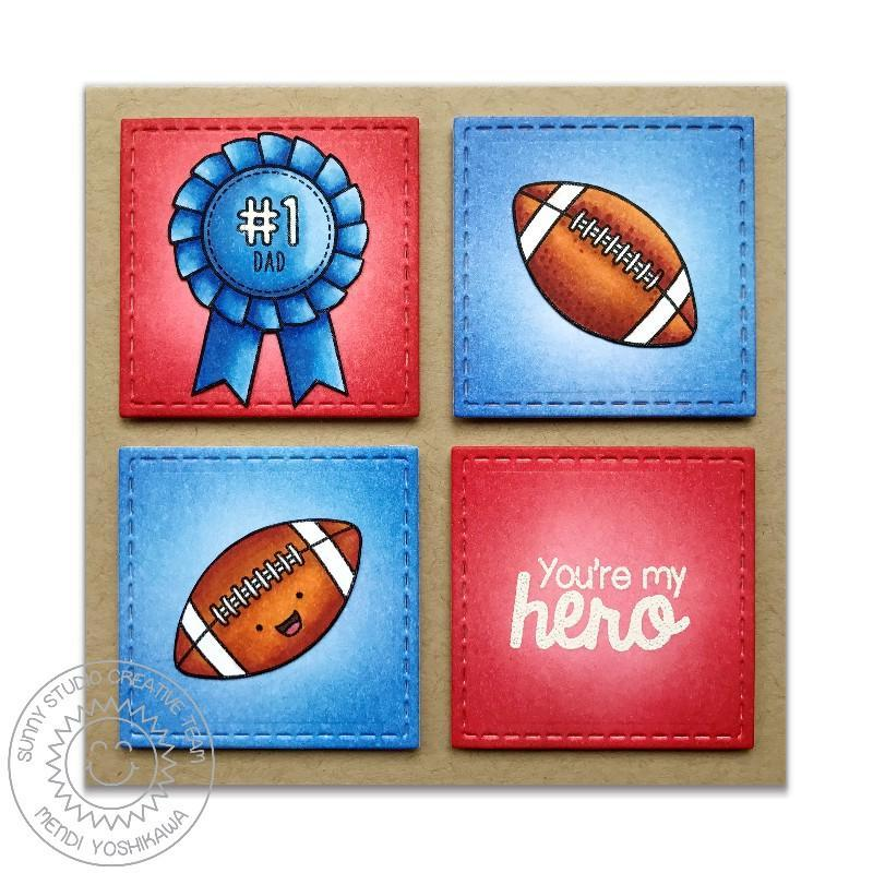 Sunny Studio Stamps Team Player #1 Dad You're My Hero Football Card