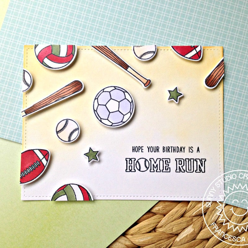 Sunny Studio Stamps Team Player Home Run Baseball, Football, Soccer & Volleyball Sport's Themed Card