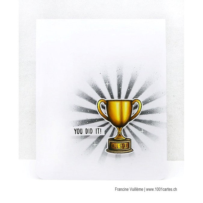 Sunny Studio Stamps Team Player Home You Did it! Trophy Card with sunrays by Francine Vuillème