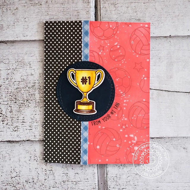 Sunny Studio Stamps Team Player Sports Trophy Card by Lexa Levana